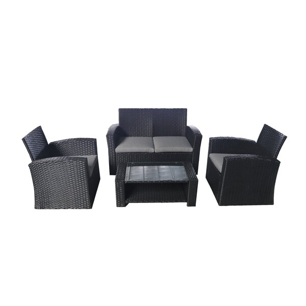 Callum 4 Piece Rattan Deep Seating Group with Cushions by Bayou Breeze