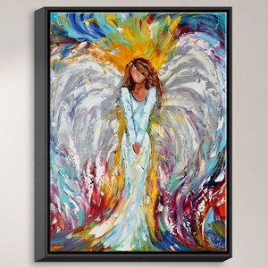 'Angel Watching Over Me' by Karen Tarlton Painting Print on Wrapped Framed Canvas by DiaNoche Designs