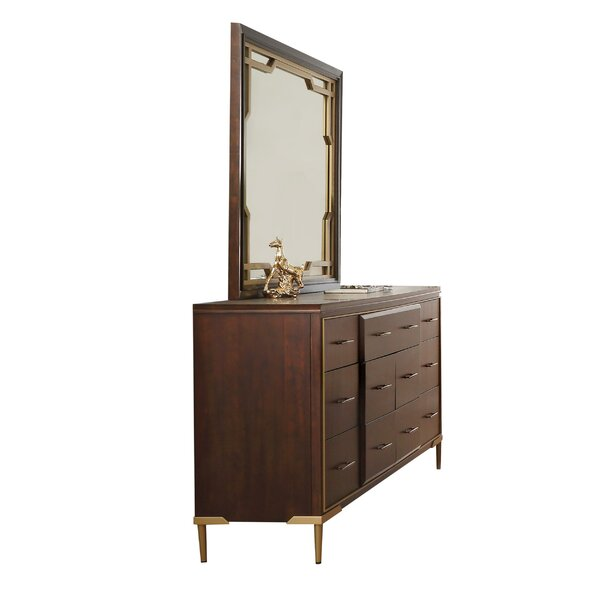 Holdenville Wooden Raised Panel 7 Drawer Double Dresser with Mirror by Everly Quinn