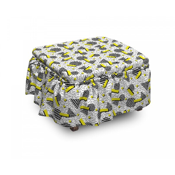 Geometric Zigzag Chevron Circle 2 Piece Box Cushion Ottoman Slipcover Set By East Urban Home