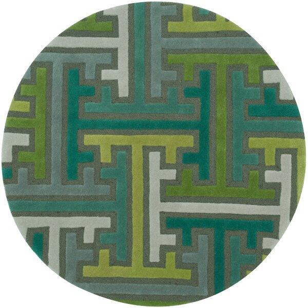 Leanne Hand-Woven Wool Green/Blue Area Rug by Zoomie Kids