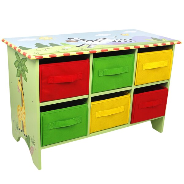 Sunny Safari Portable 6 Compartment Cubby with Bin