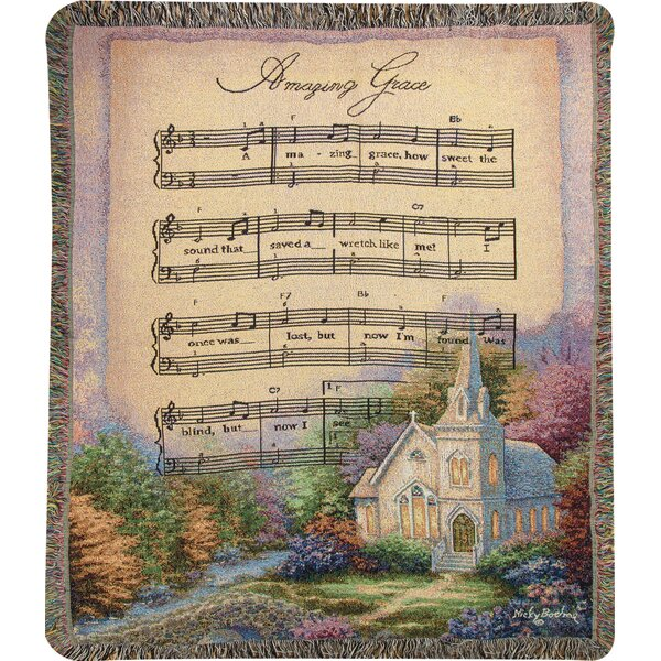 Church in the Country Amazing Grace Tapestry Cotton Throw by Manual Woodworkers & Weavers