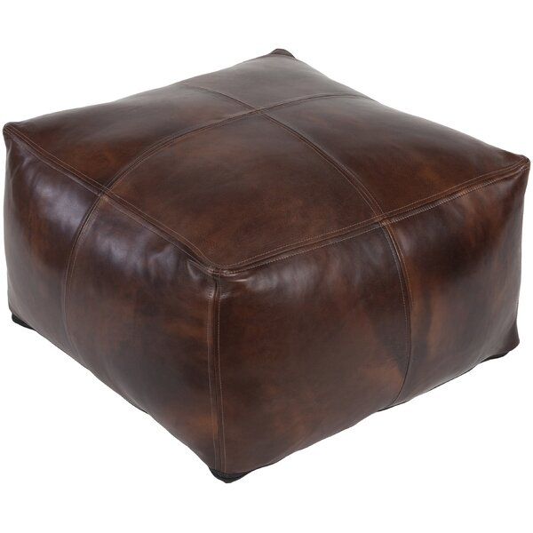 Lottie Leather Pouf by Trent Austin Design