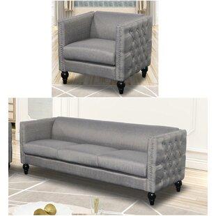 Noam Crystal Linen 2 Piece Living Room Set by House of Hampton®