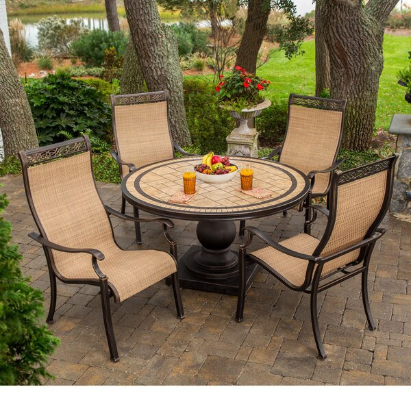 Carlee 5 Piece Outdoor Dining Set with Umbrella by Fleur De Lis Living
