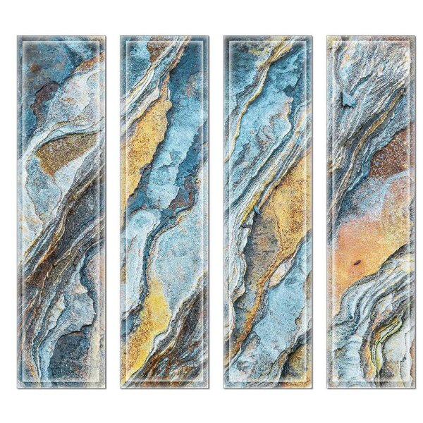 Crystal 3 x 12 Beveled Glass Subway Tile in Blue/Brown by Upscale Designs by EMA