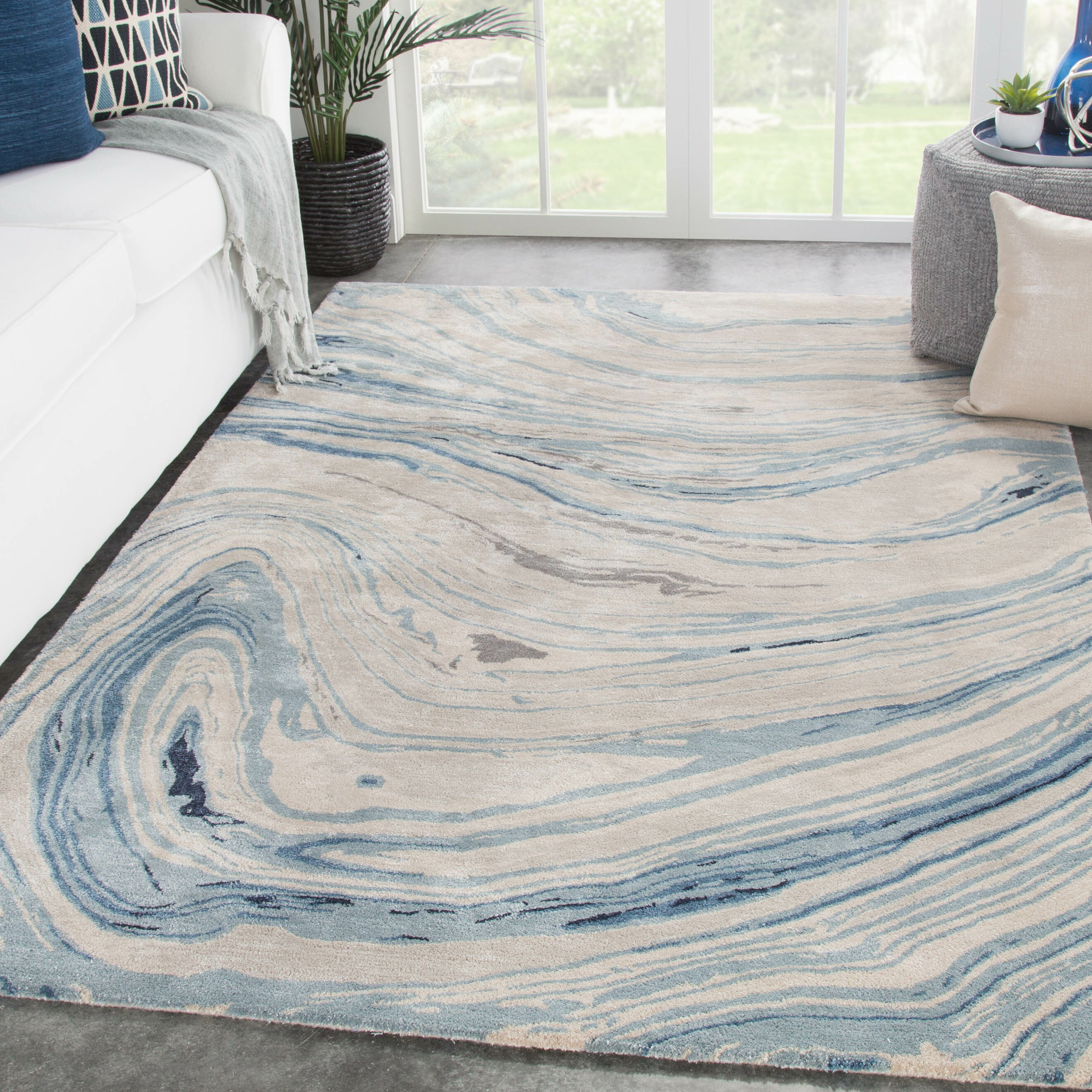 Hand Tufted Blue Beige Area Rug
