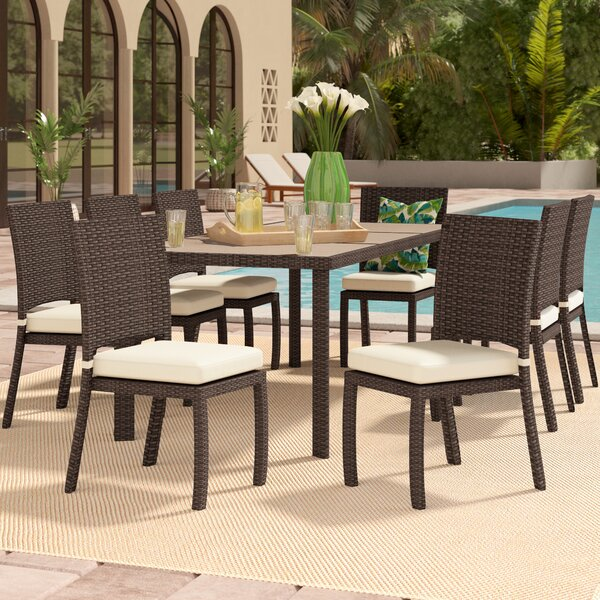 Cicero 9 Piece Armless Dining Set with Cushions by Bayou Breeze