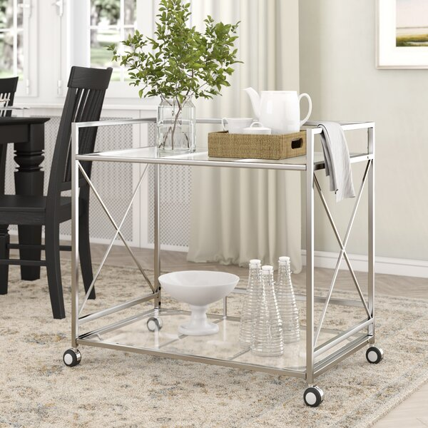 Ducote Industrial Modern Iron/Glass Bar Cart by Ebern Designs
