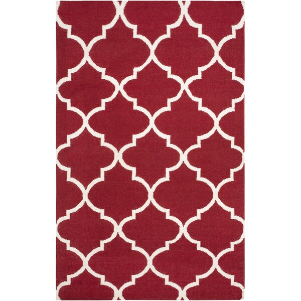 Bangor Red Geometric Area Rug by Ebern Designs