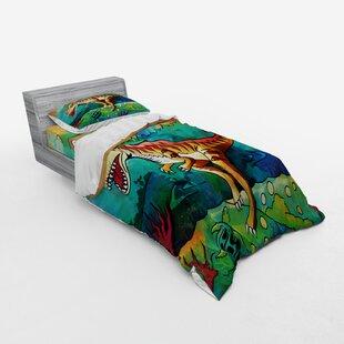 Novelty Cool Dinosaur Pterosaur Heart Bedding Set Quilt Duvet Cover+Pillow Case