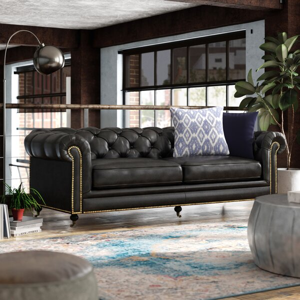 Stephanie Leather Chesterfield Sofa By 17 Stories