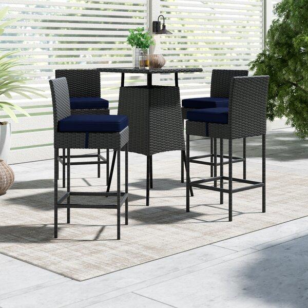 Tripp 5 Piece Bar Height Dining Set with Sunbrella Cushions by Brayden Studio