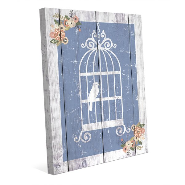 Floral Cage Blue Graphic Art on Wrapped Canvas by Click Wall Art