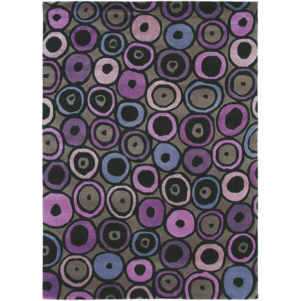 Thelma Hand-Knotted Wool Blush/Black Area Rug by Bloomsbury Market