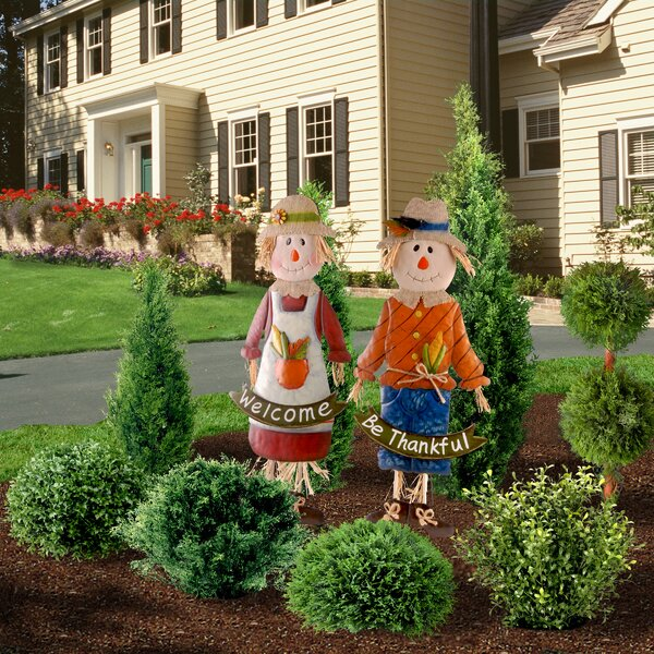 2 Piece Metal Scarecrow Figurine Set by National Tree Co.