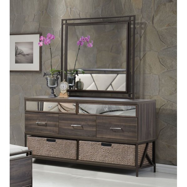 Mavek 5 Drawer Dresser with Mirror by Orren Ellis