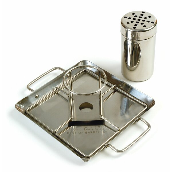 Steven Raichlen Stainless Beer Can Chicken Roaster with Drip Pan by Charcoal Companion