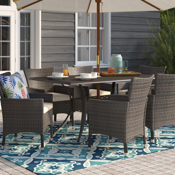 Tellara Outdoor 7 Piece Dining Set with Cushions by Beachcrest Home