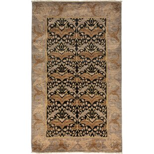 Comparison One-of-a-Kind Dereck Arts and Crafts Hand-Knotted Black/Brown Area Rug By Isabelline