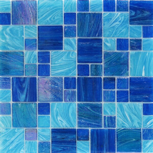 Aqua Random Sized Glass Mosaic Tile