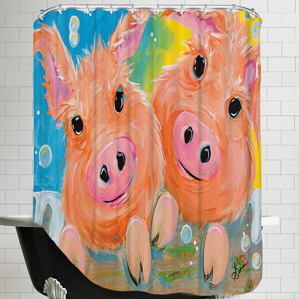 Pig Duo Shower Curtain by East Urban Home