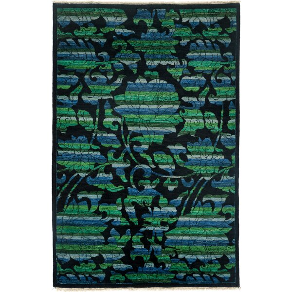 One-of-a-Kind Arts and Crafts Hand-Knotted Black/Green Area Rug by Solo Rugs