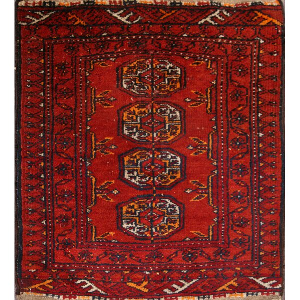 Brundidge Traditional Balouch Vintage Oriental Afghan Hand-Knotted Wool Red/Burgundy Area Rug by Bloomsbury Market