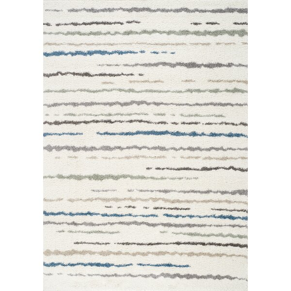 Kaelyn Hazy Line Cream Area Rug by Brayden Studio