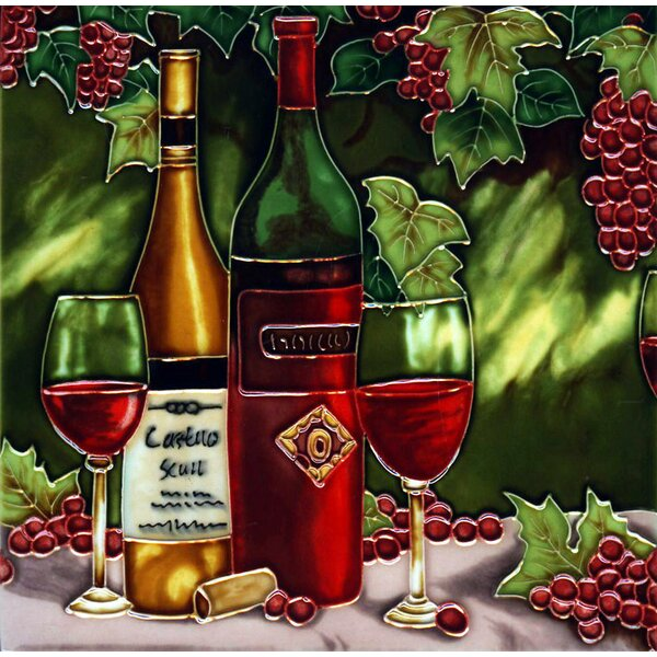 Wine Bottle with Red Grape Tile Wall Decor by Continental Art Center