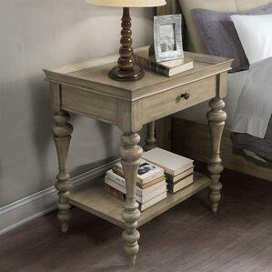Paredes Wood Top Leg 1 Drawer Nightstand by One Allium Way