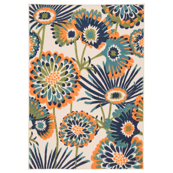 Tabb Floral Orange/Blue Indoor/Outdoor Area Rug by Ebern Designs