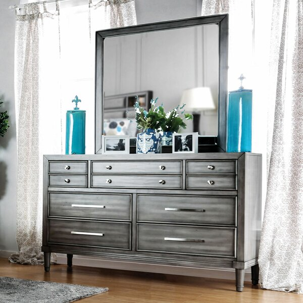 Julia 10 Drawer Double Dresser with Mirror by Everly Quinn
