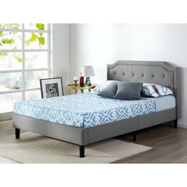Scalloped Upholstered Platform Bed by Zinus