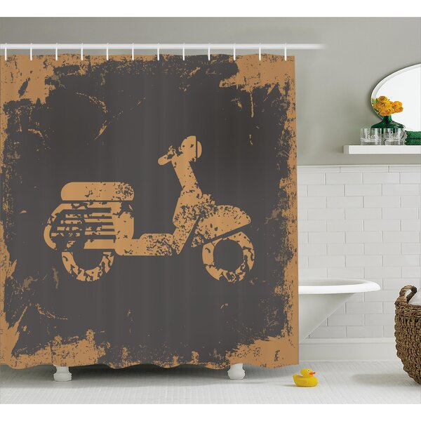 Retro Motorcycle Shower Curtain by East Urban Home