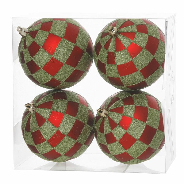 Glitter Checkered Christmas Ball Ornament (Pack of 4) by Vickerman