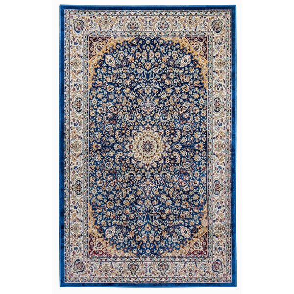 Royal Palm Traditional Blue/Brown Area Rug by Bloomsbury Market