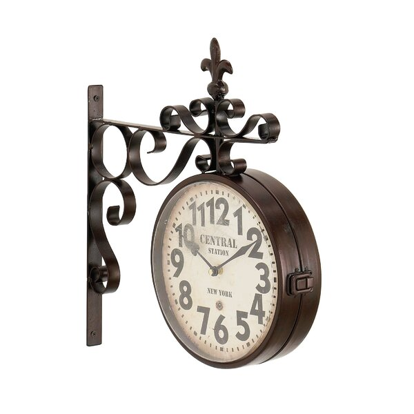 Candor Rustic Central Station Vintage Double Sided Wall Clock by Fleur De Lis Living