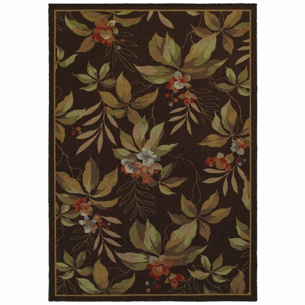 Livingon Brown/Green Indoor/Outdoor Area Rug by Bay Isle Home