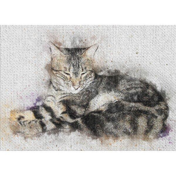 Cat Black Area Rug