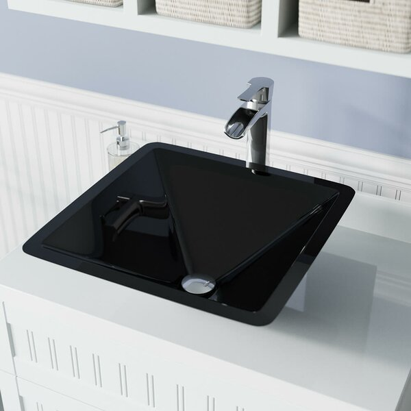 Glass Square Vessel Bathroom Sink with Faucet by MR Direct