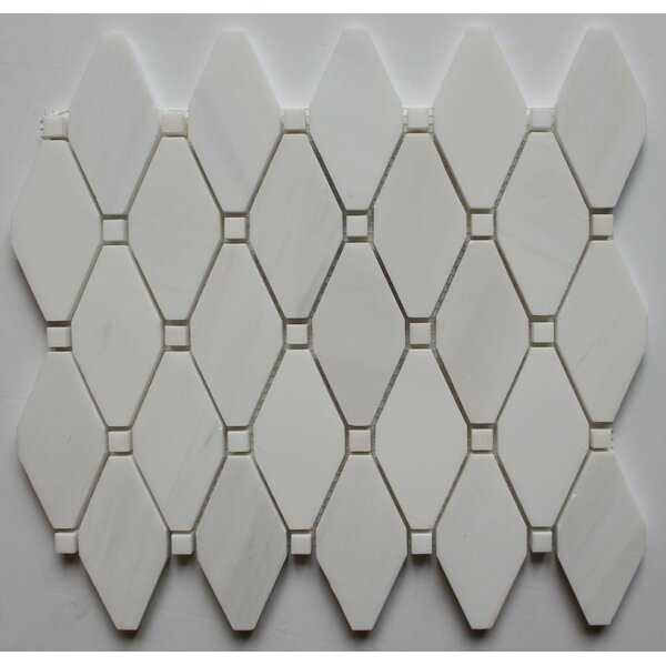 2 x 2 Marble Mosaic Tile in Bianco Dolomite with Bianco Dot by Ephesus Stones