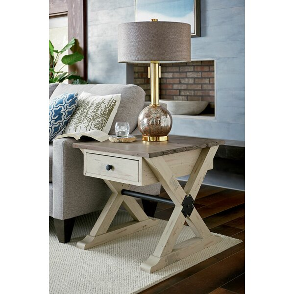 Wesley Trestle End Table With Storage By Highland Dunes
