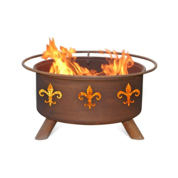 Fleur De Lis Steel Wood Burning Fire Pit by Patina Products