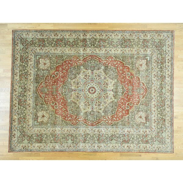 One-of-a-Kind Beason Antiqued Haji Jalili Re-creation Handwoven Green Wool Area Rug by Isabelline