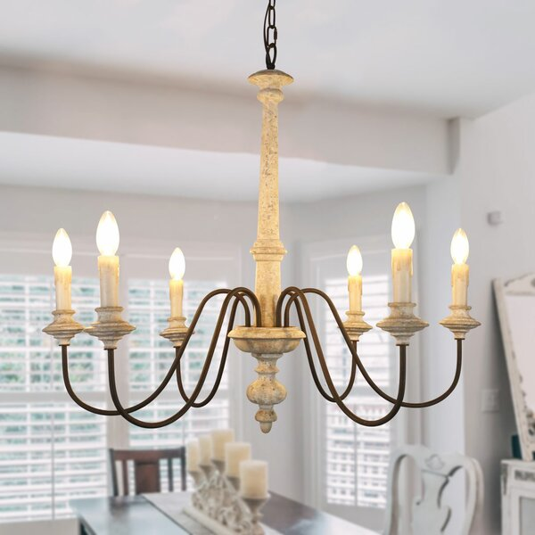 Donnelly Shabby Elegance Wooden 6-Light Candle Style Classic / Traditional Chandelier by Ophelia & Co. Ophelia & Co.