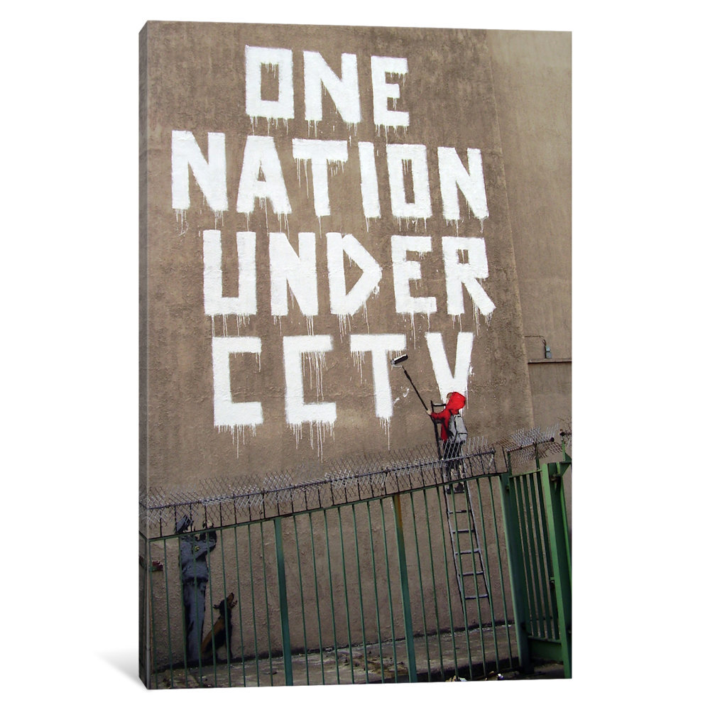 ICanvas One Nation Under CCTV Newman Street By Banksy Textual Art On Wrapped Canvas