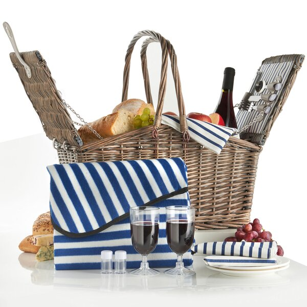Deluxe 2 Person Folding Handle Picnic Basket by VonShef