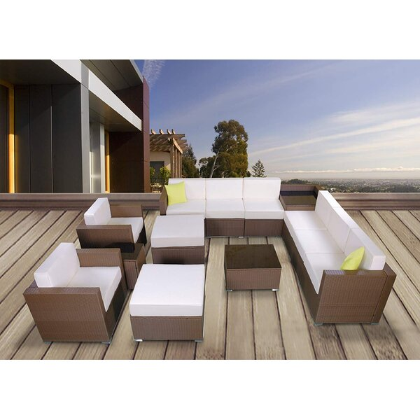 Keytesville 13 Piece Rattan Lounge Dining with Cushions by Brayden Studio